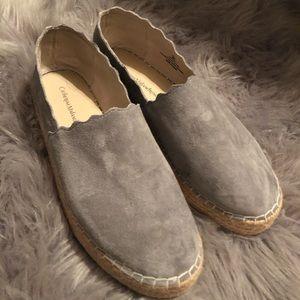 Grey Suede Espadrilles Slides